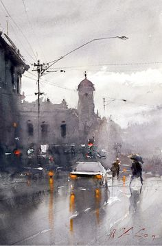 Watercolor painting by Joseph Zbukvic. Watercolor art inspiration. I love the pop of yellow orange in the lights, it really stands out against the grey.