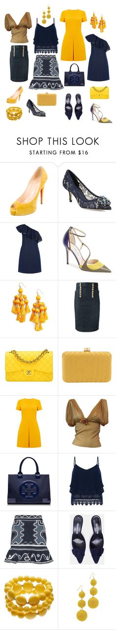 """""""Yellow & Navy/Denim"""" by elisabethscott ❤ liked on Polyvore featuring Christian Louboutin, Dolce&Gabbana, Warehouse, Jimmy Choo, Kate Spade, Dsquared2, Chanel, Inge Christopher, Christian Dior and Tory Burch"""
