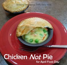 Chicken NOT Pie for April Fools Day.  How fun is this?!  Faux Chicken Pot Pie