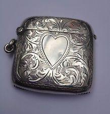 Antique Large Vesta Match Safe Love Token 1913