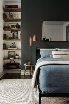 Rustic Bedroom Ideas - If you want to go to rest in rustic posh after that this article is excellent for you. We have actually collected a lot of rustic bedroom style ideas you could make use of. Diy Apartment Decor, Home Decor Bedroom, Modern Bedroom, Bedroom Ideas, Diy Bedroom, Warm Bedroom, Grey Wall Bedroom, Charcoal Bedroom, Apartment Master Bedroom