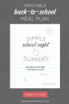 Does the school year have you panicking about what to make for dinner? It shouldn`t! These simple school night suppers are perfect for busy weeknights, and won`t leave you stranded in the kitchen all afternoon. They`re kid-friendly and parent-approved, and go from grocery bag to dinner table in 29 minutes or less!
