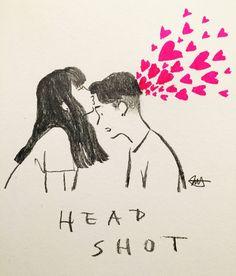 Headshot <3   By jessoo Sketch [Art - Drawing - Pencil - Kiss - Love - Couple]