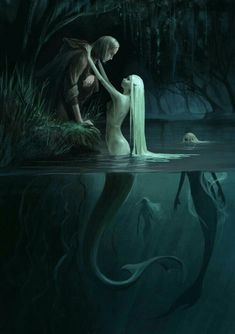 I love all fantasy and mythical stuff, but my favorite ones are mermaids.So this is a collection of mermaid images I've been picking all over the internet. Dark Fantasy Art, Fantasy Kunst, Fantasy Artwork, Fantasy World, Dark Art, Arte Obscura, Mermaids And Mermen, Merfolk, Mermaid Art
