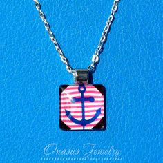 Navy anchor with pink and white striped background glass pendant with silver slide bail