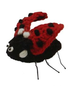Ladybug in flight. Crochet with hairpin legs. From my new book 50 Sunflowers to Knit, Crochet and Felt. Posted on my blog Getting Stitched on the Farm