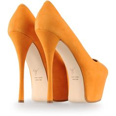 GIUSEPPE ZANOTTI DESIGN Closed-toe heels - sky high platform stilettos in eye popping neon orange suede. Rock these with a fuchsia pencil silhouette dress and a skinny neon belt.