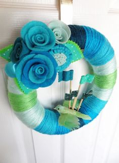 Stripey Felt Yarn Wreath