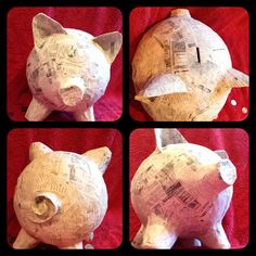 """Home made piggy bank. So much fun to make.  Great way to save up some cash. Blow up a balloon and add a layer of paper meche. Let that layer dry and reapply until the thickness of the meche makes it hard enough that it doesn't """"bend """"  when you squeeze it. Add ears a nose and a tail ( I used small paper cups ) and add paper meche around that until it doesn't """" squish"""". Cut the slot with an exacto knife ( works the best). Use tweezers to get the balloon out. Then you have a homemade piggy…"""
