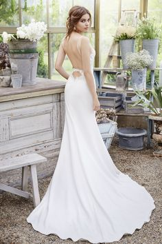Bridal Gowns, Wedding dresses by Tara Keely Style 2651 - Ivory crepe sheath gown, Venise lace bodice with V illusion neckline, deep plunging keyhole back and chapel train.
