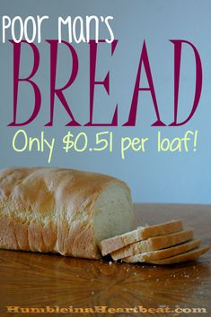 This Poor Mans Bread costs just per loaf to make and only requires 4 ingredients flour salt yeast and water Tortillas, Think Food, Bread Machine Recipes, Der Arm, Snacks, Cheap Meals, How To Make Bread, Bread Baking, Muffins