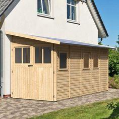 Abri de jardin adossé en bois certifié 8m² Juist 5 - Karibu en vente chez mon-abri-de-jardin.com, le spécialiste des abris de jardin en bois livrés à domicile