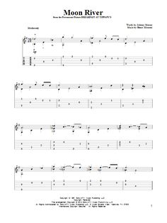 Henry Mancini: Moon River - Partition Tablature Guitare - Plus de 70.000 partitions à imprimer !