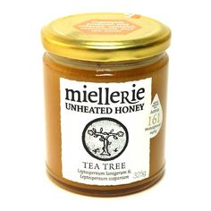 Miellerie's manuka or tea-tree honey (325g) is distinctively flavoured and amber toned, with a rich texture and consistency. All of the honey's natural flavours, aromas and goodness have been preserved by Miellerie's cold-extraction and minimal processing approach; so this raw, organic honey retains all its natural anti-biotic properties. #Tassie #Tasmania #TasmaniaMade #TassiePure #Australia #AustralianMade #Natural #Pure #Honey #TeaTree #Manuka #Gourmet #Organic #Unique #Rare