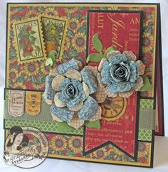 @Gloria Stengel made this stunning French Country card! Those flowers are gorgeous! #graphic45 #cards
