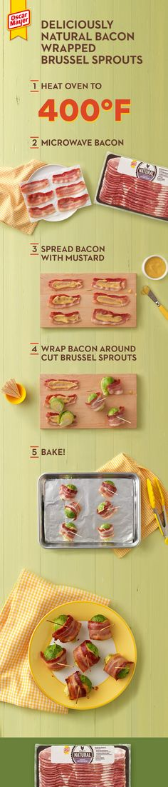 What does crispy bacon plus tender brussel sprouts equal? A side dish that will outstage… Low Carb Recipes, Diet Recipes, Cooking Recipes, Recipies, Bacon Wrapped Brussel Sprouts, Brussels Sprouts, Appetizer Recipes, Appetizers, Recipes