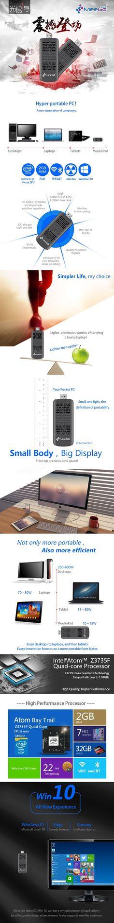 [Original Win10 Licensed] MeegoPad T05 Wireless Mini PC Intel Atom Z3735F 2GB DDR3L 32GB eMMC Sale - Banggood.com