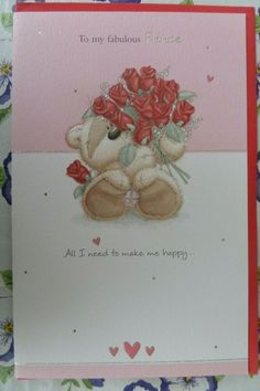 VALENTINES DAY CARD FABULOUS FIANCE bear arm full roses fizzy moon design  #fizzymoon #ValentinesDay Valentines Day For Him, Valentines Day Birthday, Valentine Gifts, Fizzy Moon, Red Love Heart, Moon Design, Bunting Banner, Romantic Gifts, Wooden Hearts