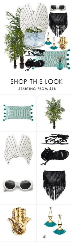 """""""summer mood"""" by sonitsa ❤ liked on Polyvore featuring Shiraleah, Nearly Natural, Free People, Liviana Conti, H&M, Depeche and Stella & Dot"""