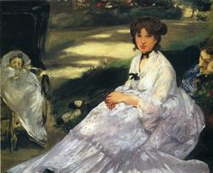 "impress-art: "" In the garden by Edouard Manet Size: 44x54 cm Medium: oil on canvas """