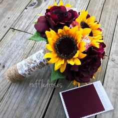 Sunflower Bouquet Rustic Bouquet Wine and Sunflower Bouquet Marsala Sunflower Bouquet Bridal Bouquet Sunflower Bouquet Rustic Bouquet Wine and Sunflower Bouquet Etsy Rose Wedding, Fall Wedding, Wedding Flowers, Dream Wedding, Prom Flowers, Wedding Rustic, Perfect Wedding, Wedding Ceremony, Wedding Stuff