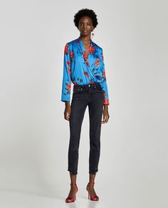 Image 1 of FLORAL PRINT BODYSUIT from Zara