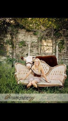 This is a great way to have a picture taken with your steer.  Then  you won't wreck your dress.  You wreck an antique couch instead. lol