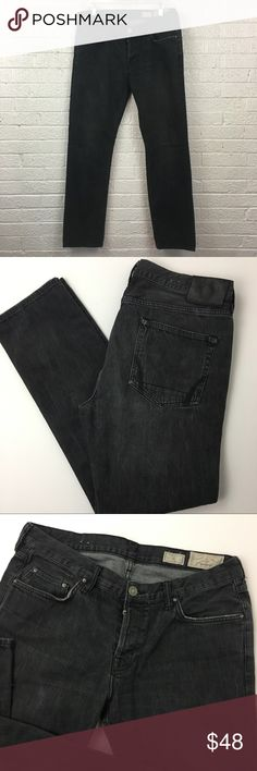 """All Saints Iggy Button fly jeans 34x32 Button fly jeans in a faded black color and slim fit  Tag says 36 but waist measures 34"""" due to shrinkage 10-1/2"""" rise 31-1/2"""" inseam All Saints Jeans Slim"""