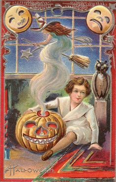 vintage card... More Vintage Postcards, Autumn Halloween Thanksgiving, Cards Sticks, Bewitch Night, Halloween Shirt, Halloween I, Halloween Everybodi, Halloween Postcards, Vintage Halloween Cards Vintage Halloween card vintage Halloween postcard - witch Bewitching Night Its that time of year when we all lose it a little. Thats right, its HALLOWEEN... So we have decided to post lots of cool Halloween images from all over. Hope you like it. HAPPY HALLOWEEN EVERYBODY…