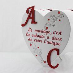 Urne de mariage rouge et blanche avec texte personnalisé