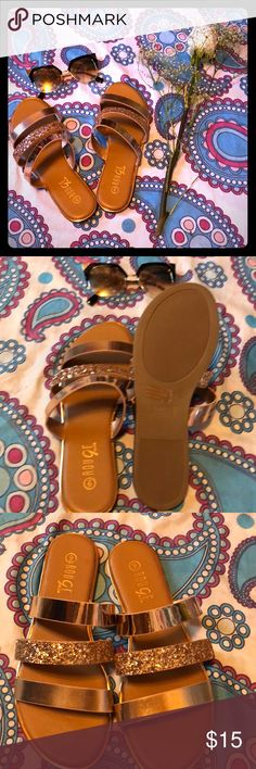 Tan and Glitter Gold Slip ons 3 strap, slip ons, gold and glitter gold, brand new, never worn! Shoes Sandals