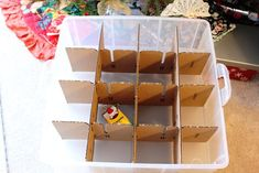 15 Clever Christmas Ornament Storage Ideas Create your own cardboard dividers, and put them in a plastic bin to keep them safe. Diy Christmas Storage, Diy Ornament Storage, Ornament Box, Christmas Diy, Christmas Tree Ornaments, Christmas Decorations, Picture Storage, Storage Ideas, Diy Storage