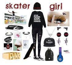 """""""Skater Girl"""" by claudiasalvatore ❤ liked on Polyvore featuring WithChic, Converse, Givenchy, La Maison, Beats by Dr. Dre, Forever 21, Tom Binns, Marvel Comics, McQ by Alexander McQueen and ASOS"""