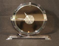 C.1935 ART DECO JAEGER-LECOULTRE FOR GARRARD WORKING CHROME & GLASS MANTEL CLOCK