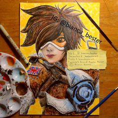 """Tracer from Overwatch  looks tons better than my previous version!  Which character from Overwatch should I paint next?  """"Tracer"""" Dala acrylic paint and Pigma Micron fineliner 2016  Art (c) Bianca Bester (original fanart design) Character (c) Blizzard Entertainment   Feel free to follow me on: DeviantArt: beebesterart  Tumblr: biancabesterart Facebook: Art of Bianca Bester   #Overwatch #Tracer #teleport #drawing #technology #gorilla #ape #gun #ps4 #human #hero #acrylic #gaming #gamer…"""