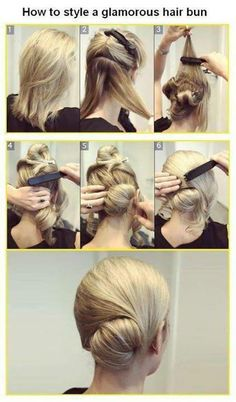 low side bun, with swirl. Modern hairstyle