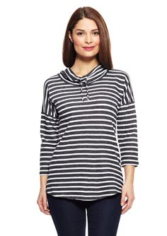 CG CABLE & GAUGE Two Tone Stripe Striped Cowl Neck Three-Quarter Sleeve Sweater