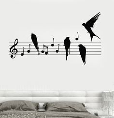 Wall Decal Notes Music Birds Romantic Bedroom Vinyl Sticker (z3237)