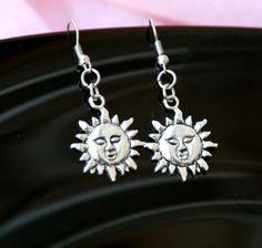 Silver SUN earrings  SUN charm  jewelry Boho dangly earrings Tibetan Sun Face Celestial Jewelry Pagan Wiccan earrings by Lovelyblackpanther #TrendingEtsy