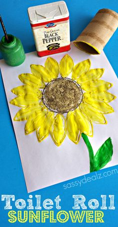 Toilet Paper Roll Sunflower Stamp Craft, I think I would use sunflower seeds instead of black pepper for the center.
