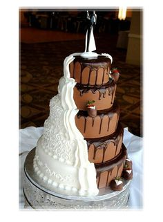 Icing Bride and Chocolate Groom Wedding Cake