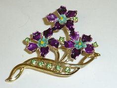 Vintage Purple Enamel Flower Green Rhinestone by labaublesandbags, $14.00