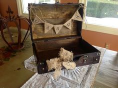 Rustic Wedding Card Box With Burlap Banner by ladedadesign on Etsy