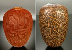 highly textured and colorful vases by artist jacques vesery