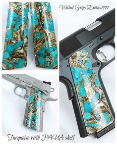 Paua Shell, Hand Guns, Wicked, Firearms, Pistols