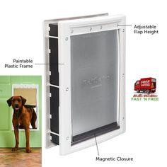 XLarge Pet Door White Frame Plastic Soft Tinted Flap Safe Closing Panel Hardware #PetSafe