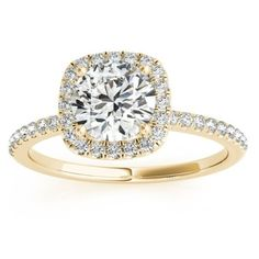 Square Halo Diamond Engagement Ring Setting 14k Yellow Gold 0.20ct