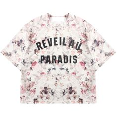 Floral Print Short-Sleeve T-Shirt ($17) ❤ liked on Polyvore featuring tops, t-shirts, shirts, white cotton t shirts, cotton short sleeve shirts, tee-shirt, white floral shirt and white tee