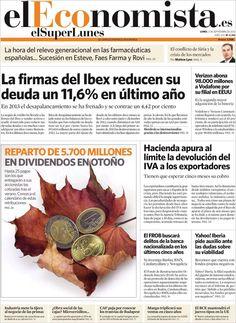 Los Titulares y Portadas de Noticias Destacadas Españolas del 2 de Septiembre de 2013 del Diario El Economista ¿Que le pareció esta Portada de este Diario Español?