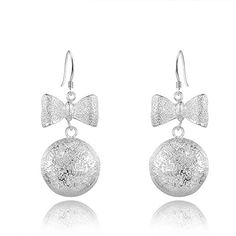 * Penny Deals * - IVYRISE Fashion Unique Jewelry Silver Simple Frosted Bowknot Bead Drop Dangle Earrings 925 >>> Click image to review more details.